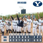 FINAL: the Cougars sweep USD, final score 6-2. BYU is now 9-0 in conference play. #GoCougars #BYUSoftball http://t.co/URIjiaqAT8