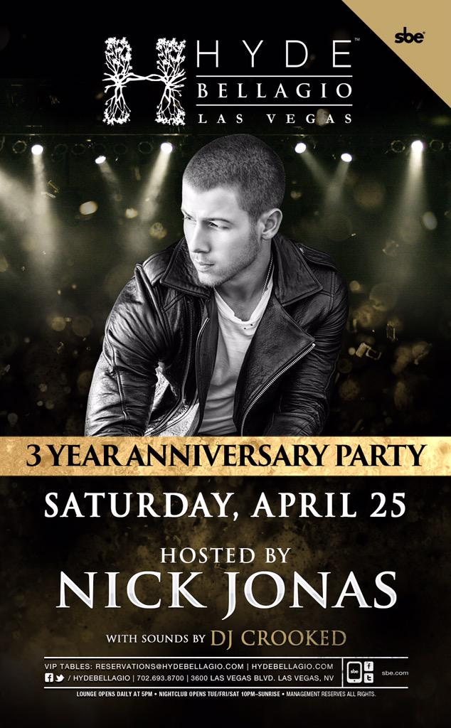 Celebrating 3 Years of @HydeBellagio madness tonight w/special host @NickJonas. @SkamArtist is the fam! #SkamLife http://t.co/CXwewibYSi
