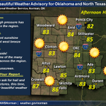 Fun graphic! It is beautiful. RT @NWSNorman: 1220p: Beautiful Weather Advisory for OK & N TX Get outside, enjoy. http://t.co/Xex8NvmTNo""
