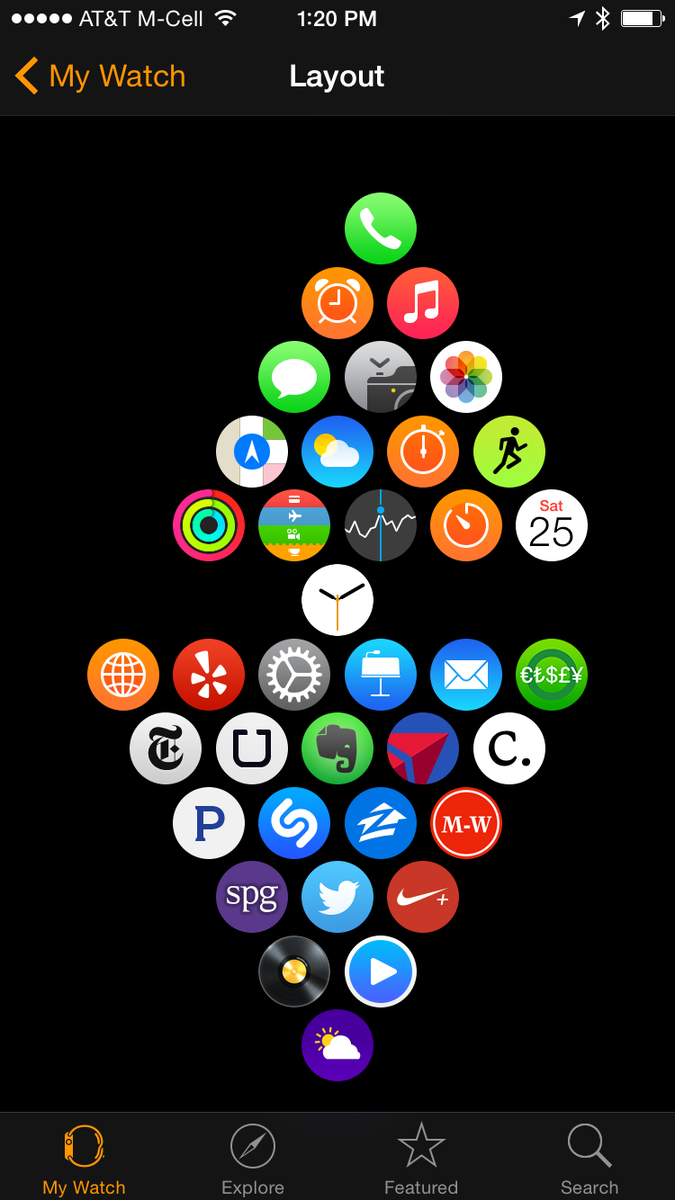 My #AppleWatch App layout. Default on top, 3rd Party on bottom. Fun! http://t.co/KQnM3TiOlK