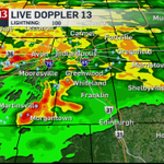 1:55pm Live Doppler 13 Radar - heavy rain and lots of lightning moving NE #Indy Danville Greenwood Greenfield http://t.co/PdCNDBY2rf
