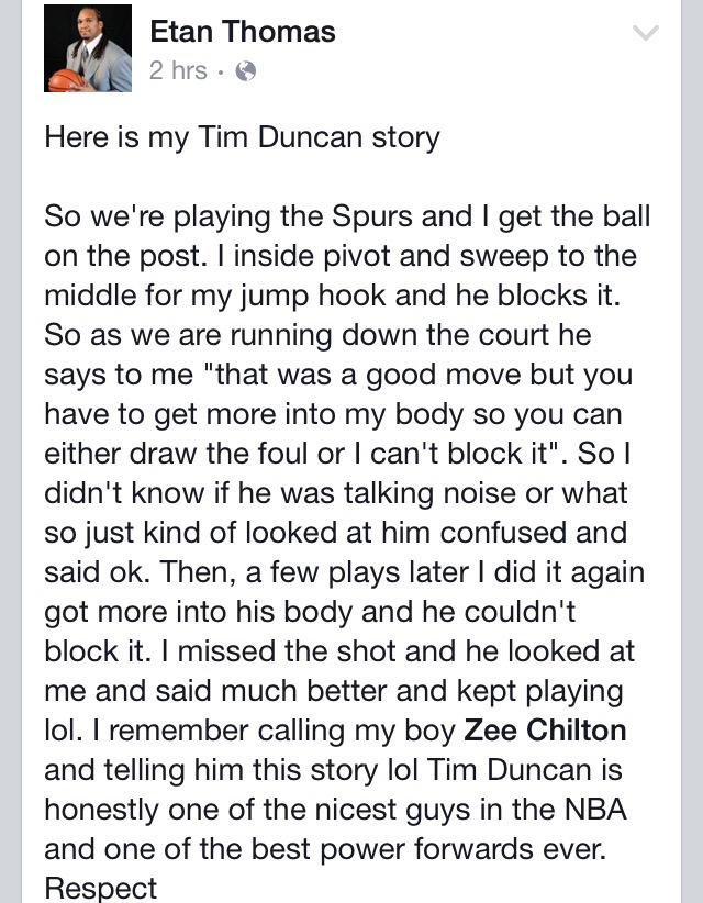A great Tim Duncan story shared by one of Syracuse's finest, Etan Thomas, on Facebook today: http://t.co/1n9yEoS918