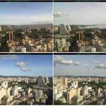 POA às 16h30m ontem (sem cinzas) e hoje (com cinzas na atmosfera). Nítida mudança no tom de azul do céu. #Calbuco http://t.co/2KMSAzFyzI