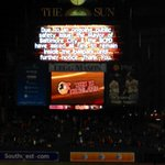 This announcement on the Camden Yards scoreboard just now. #Orioles #RedSox #FreddieGray protest http://t.co/iEFGCZDvD3