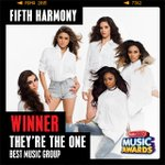 The ARDY for #TheyreTheOne – Best Music Group goes to @FifthHarmony! #RDMA http://t.co/muh0Rfq5vZ