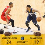 #Grizzlies lead the #Blazers after 1Q, 24-19. @CourtneyLee2211 has 10 pts (4-5 from the field). http://t.co/esb23ihIwZ