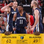 #Grizzlies lead the #Blazers at the half, 62-49. @MConley11 leads the #Grizz w/ 12pts/4ast http://t.co/Dx2or7fxH1