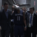 Mike Conley Jr. went into the locker room after taking an unintentional shot to the face. http://t.co/92UuhTgCGZ
