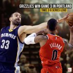 The Grizzlies win 115-109 on the road behind 25 points and 7 rebounds from Marc Gasol! http://t.co/09klJDeV1b