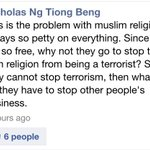Nicholas Ng Tiong Beng should watch what he says. #racistcomments http://t.co/0Wj2dNZeGt