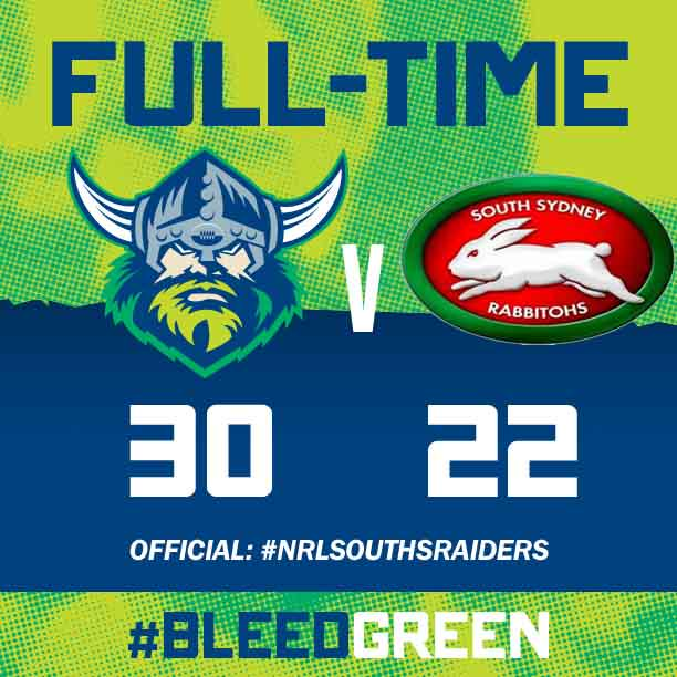 What a win! Another come from behind victory! RT if you love that! #NRLRaidersSouths #BleedGreen http://t.co/YRCri8Xc47