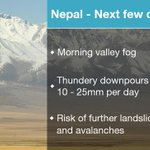 #NEPAL #EARTHQUAKE Combination of rain, snow (above 3000m) & aftershocks could increase avalanche/landslides. Stav D http://t.co/DNpycsXdTM