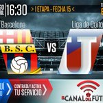 Desde las 16:30 juegan @BarcelonaSCweb vs @LDU_Oficial en el Estadio Monumental. MÍRALO por https://t.co/VMhJskxa0g http://t.co/oLhXTxAiDL