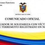 #Ecuador se solidariza con víctimas de terremoto registrado en #Nepal http://t.co/x0q7oHpSoY http://t.co/QTYBsOuVE7