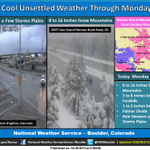 """Winter Storm Warning Mountains Noon Today - Noon Monday, with 8-16 inches snow expected. 3-8"""" snow Foothills. #cowx http://t.co/nyeDmoZCkF"""