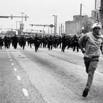 Powerful image going viral now. This isnt the 1960s. Its Baltimore, April 2015. #BlackLivesMatter #Every28Hrs http://t.co/O8ecd3jRzi