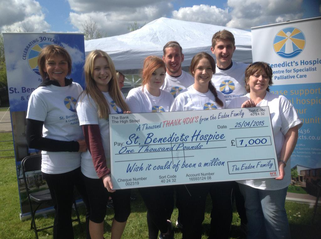 Congratulations Team Eadon who raised over £1500 doing the Wearslide for St Benedicts Hospice in memory of Phil Eadon http://t.co/mEM7oDFBjn