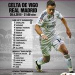 Once inicial del Real Madrid frente al Celta. #HalaMadrid http://t.co/3wMSwj69qj