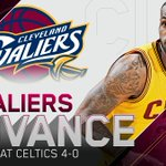 Cavs sweep! LeBron James teams have won 13 straight 1st-round games, 28-3 in 1st-round games over last 7 postseasons http://t.co/u5sFdV7t8N