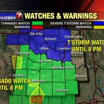 *Tornado Watch* in northern Texas, *Severe Thunderstorm Watch* in southwest Oklahoma. Stay weather aware, folks! http://t.co/D4xPGow2t7