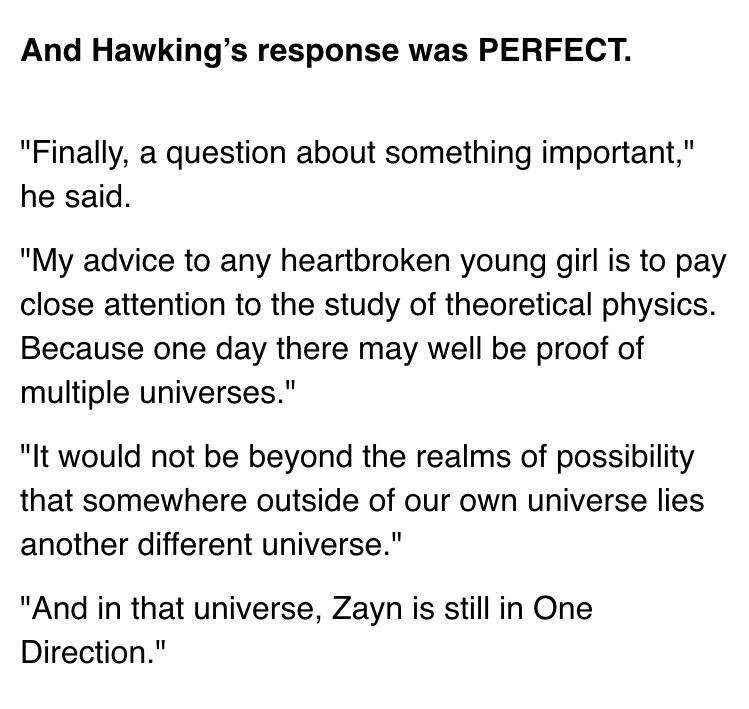 Hahaha so awesome || RT @web: Stephen Hawking consoling a One Direction fan. http://t.co/02t4iYcsWH