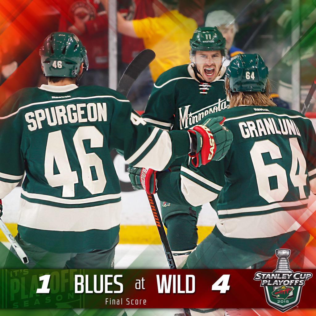 #mnwild wins 4-1!!! Minnesota takes the #STLvsMIN series! Up next: Chicago. #DontStopBelievin http://t.co/m8R70ICXxK