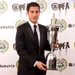 The PFA Players POTY is...@ChelseaFCs @hazardeden10! Congratulations! #PFAawards http://t.co/81ttx3TmRO