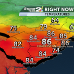 The last youll see 80s for a little while. Cold front is arriving. #chswx http://t.co/Ftih2KYCPF