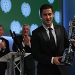 The PFA Players POTY @hazardeden10 collects his trophy on stage at the #PFAawards! http://t.co/ivm3NiK9v9