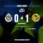 Finaliza el primer tiempo del Clásico Nacional, con gol de Paul Aguilar nuestro equipo está adelante en el marcador. http://t.co/JubvN07LIj