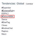 @villalobossebas Eres tendencia mundial!! felicidades, lo mereces♥ #SebasA900k http://t.co/F5ht5MhFhg