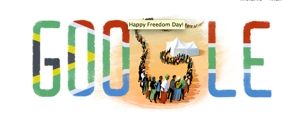 Happy Freedom Day South Africa. #LoveSouthAfrica Image: Today's Google doodle. http://t.co/2U96cMeGaq