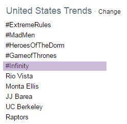 @MariahCarey #Infinity trending in the US http://t.co/nDIIfOHkQw