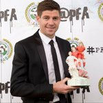 Congratulations to Steven Gerrard for his PFA merit... but what was that trophy all about? http://t.co/o4LkCPKbz4 http://t.co/J8lMcGJM37