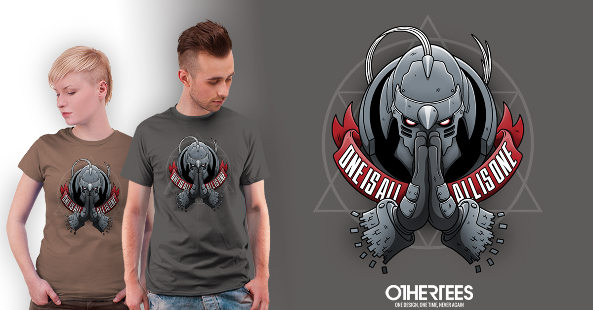 """""""One is All"""" is now on sale at http://t.co/A8IlXVnhFg! RT for a chance at FREE TEE! #anime #FullmetalAlchemist http://t.co/ik5qSyEgrD"""