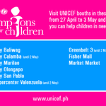 RT @unicefphils: Be a UNICEF Champion for Children! Visit our booths this week & learn how you can help children in need. http://t.co/2oj29…