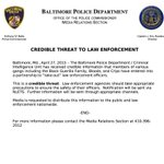 """""""Bloods...Crips enter partnership to take-out law enforcement officers"""" @BaltimorePolice reporting credible threat http://t.co/UmhcPL194V"""
