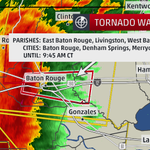 #TORNADO Warning for #BatonRouge, LA as #severe line of storms rolls in, brief spin up tornado possible. #LAwx http://t.co/9jkwA31ydm