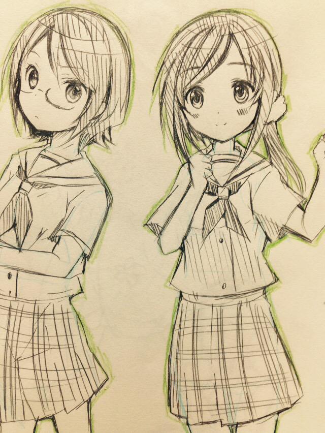 今日の落書き〜ハナヤマタのタミちゃん(^ω^)以前描いたマチちゃんに+てみました♩