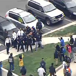 Appears that Baltimore police just deployed pepper spray after getting circled by the crowd http://t.co/pjoPqTgMN1 http://t.co/fXNDHpCirE