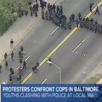 BREAKING - LIVE: Demonstrators clash with police in #Baltimore: http://t.co/YoGbFPeee6 http://t.co/V2x8RX1Dsy