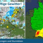 Im Süden einige heftige #Gewitter unterwegs. Bitte seid vorsichtig! Weiter Infos hier: http://t.co/p1KIg7ksK9 http://t.co/D1V9NAFhOR