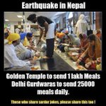 Golden Temple to Send 1 Lakh and Delhi Gurudwaras to send 25000 Meals Pakets Daily to #NepalEarthquake http://t.co/3H0McwTzJL