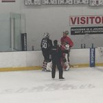 Corey Crawford and Scott Darling talk during a break during @NHLBlackhawks practice @WGNNews http://t.co/1sFvNHpuOl