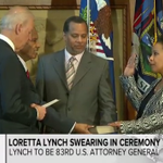 """""""It's about time this woman is being sworn in."""" —@VP Biden, while swearing in new US Attorney General, Loretta Lynch http://t.co/II2usjzY0D"""