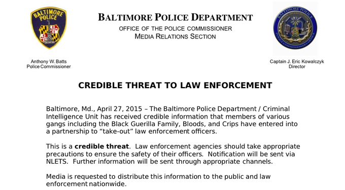 "RT @CBSNews: NEW: Gangs entered into partnership to ""take out"" @BaltimorePolice officers, officials say"