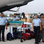 #NepalEarthquake IAF Rapid Action Medical Team with medical aid boarding an IAF aircraft for Nepal: @SpokespersonMoD http://t.co/q8rmL18PP9