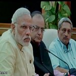 PM Modi, Finance Min and Defence Min at crisis management meeting for #NepalEarthquake http://t.co/cRYikNjJv1
