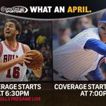.@ChicagoBulls Game 5 on CSN/@LiveExtra & @Cubs on CSN+ #WhatanApril Use #BullsTalk & #CubsTalk to follow along! http://t.co/3HT0NNPFrd
