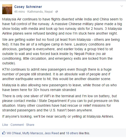 My friend @dropdeadsuit has been stranded in an airport in Nepal by @MAS for 30 hours. Bring him home! @StateDept http://t.co/BrmuV9LGZA